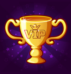 Golden vip trophy cup vector
