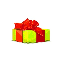 green gift with red bow vector image vector image