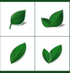 Green leaf sticker on white background vector