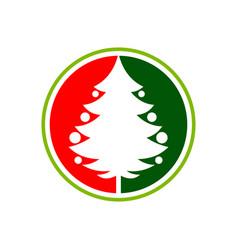 green red christmas tree pin circle symbol design vector image