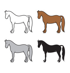 group horse on a white background wild animals vector image