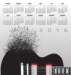 Guitar Notes 2016 Calendar vector
