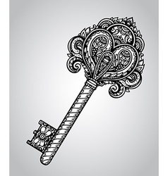 Hand drawn antique ornate key vector