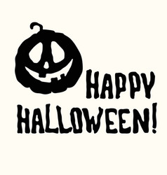 happy halloween title and pumpkin lantern on white vector image