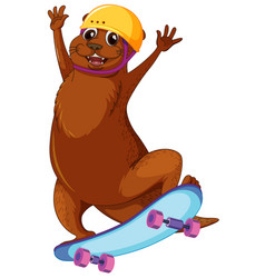 Happy otter playing skateboard vector