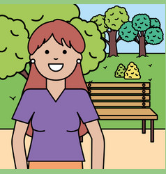 Happy young woman in park vector