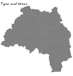 High quality map metropolitan county england vector