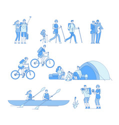 hikers characters friends campfire travel tourist vector image