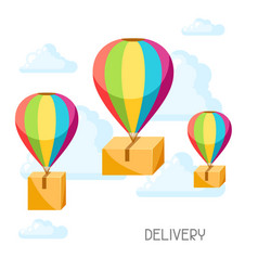hot air balloons with delivery boxes vector image
