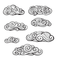 Intricate clouds swirl clip art vector