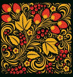 khokhloma russian pattern background vector image