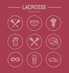 Lacrosse sport game line icons ball stick vector