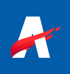Letter a logo with fast speed red bird wing vector