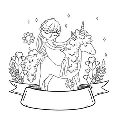 little unicorn and princess with wreath flowers vector image