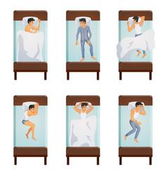 man sleeping poses set vector image