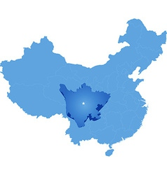 Map of Peoples Republic of China - Sichuan vector