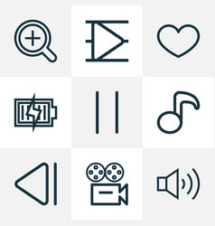 Media icons line style set with slow backward vector