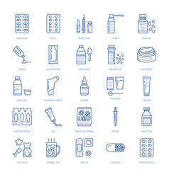 Medicines dosage forms line icons pharmacy vector