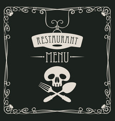 menu with human skull with a spoon and fork vector image