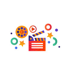 movie clapperboard on a white vector image
