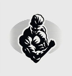 Muscular man squeezes his biceps vector