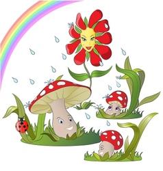 Mushroom family in rain vector
