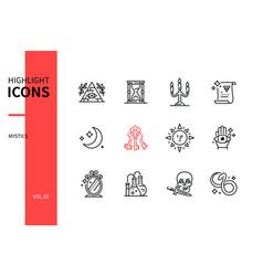 Mystic concept - line design style icons set vector