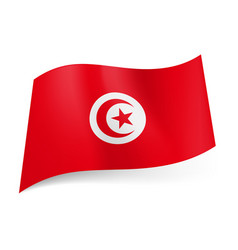 national flag of tunisia crescent moon and star vector image