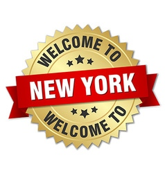 New York 3d gold badge with red ribbon vector image