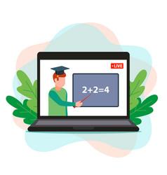 Online math education teacher remotely vector