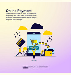 online payment concept with people character for vector image