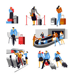 people in airport with bags airplane crew set vector image