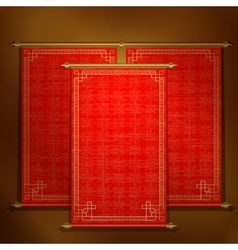 Red scroll with Asian ornament vector image