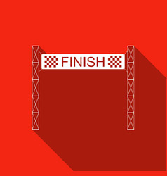 Ribbon in finishing line icon with long shadow vector