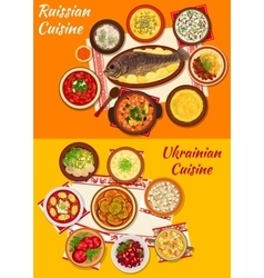 Russian and ukrainian cuisine lunch menu icon vector image