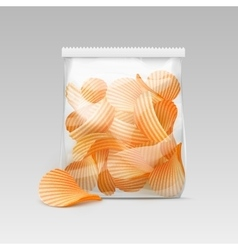 Sealed Transparent Bag with Potato Ripple Chips vector
