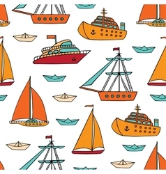 Seamless pattern with marine vessels vector