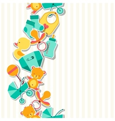 Seamless pattern with newborn baby stickers vector
