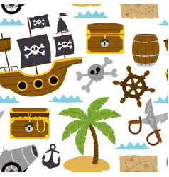 seamless pattern with pirates elements vector image