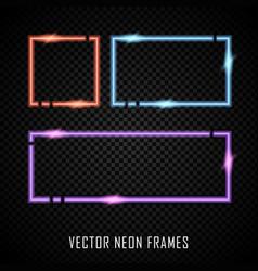 set colorful neon frames on dark vector image