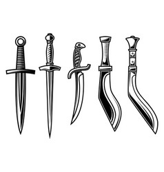set daggers in engraving style design vector image