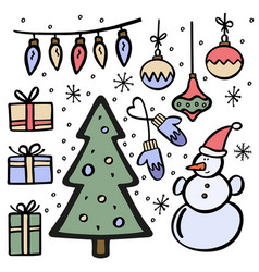 set of handdrawn christmas elements vector image