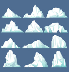 set of isolated iceberg or drifting arctic glacier vector image