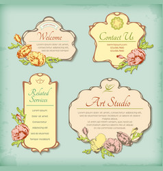 Set of vintage antique styled labels with flowers vector image