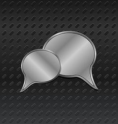 Shiny metallic speech bubbles on aluminum backgrou vector