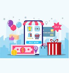 Shopping online on website or mobile application vector
