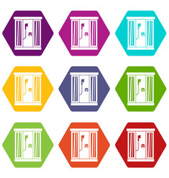 shower cabin icon set color hexahedron vector image