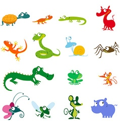 simple animals cartoon - amphibians reptiles and vector image