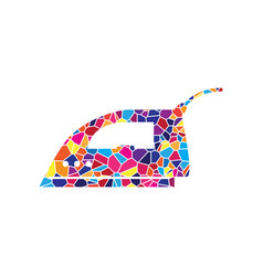 smoothing iron sign stained glass icon on vector image