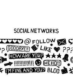 social media icons sketch set vector image